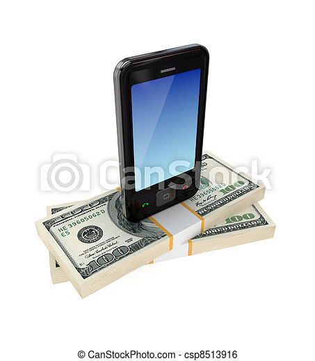Teléfono móvil moderno y paquetes de dólares. - csp8513916