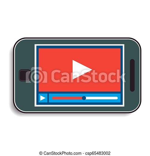 Teléfono móvil con un vídeo - csp65483002