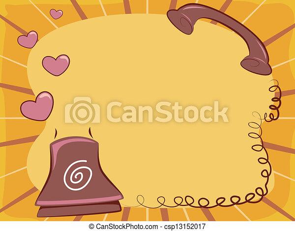 Teléfono, marco, amor, retro. Amor, marco, ilustración, teléfono ...