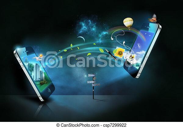 Los teléfonos inteligentes comunican - csp7299922
