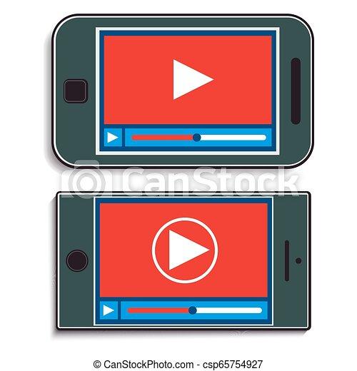 Dos móviles con un vídeo - csp65754927