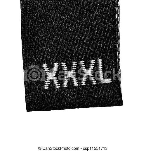 Etiqueta de talla XXXL, tela negra, aislada - csp11551713