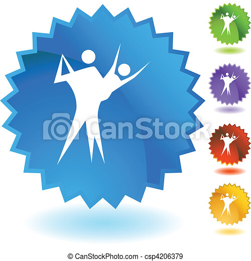 Botón web de pareja bailando aislado en un fondo. - csp4206379