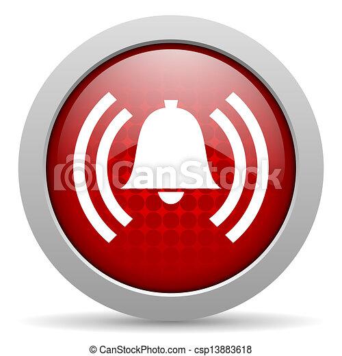Alarma círculo rojo web icono brillante - csp13883618