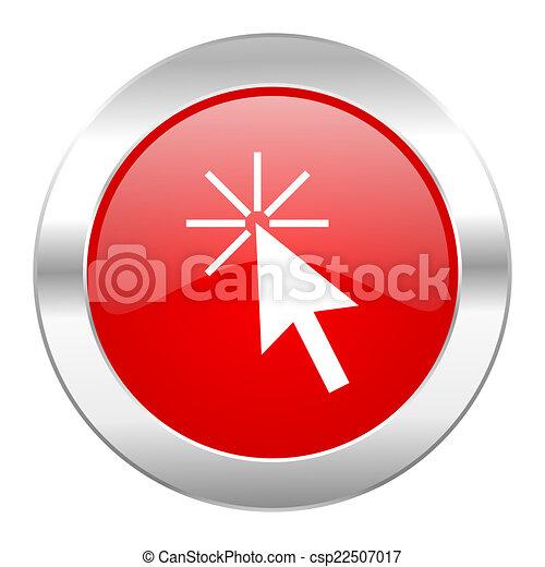 Click aquí Red Circle icono web de cromo aislado - csp22507017