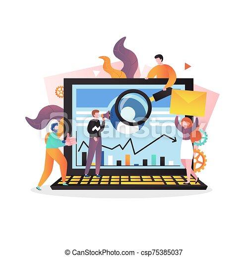 tela, concepto, página, mercadotecnia, sitio web, bandera, vector, digital - csp75385037
