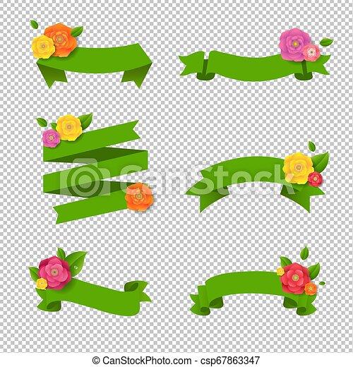 Una cinta verde con flores grandes - csp67863347