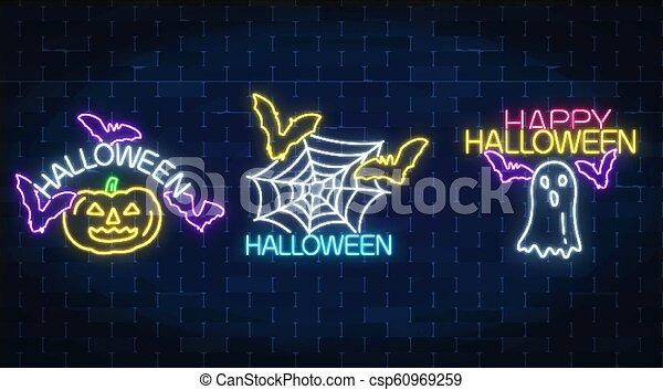 Tres ilustraciones de Halloween al estilo neón. Calabaza de neón brillante, murciélagos, silueta y telaraña de espionaje - csp60969259