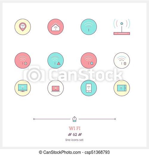 Tela, conjunto, wifi, elements., wifi., iconos, color, página web ...