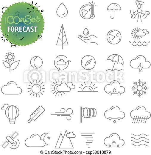 Una simple colección de iconos. Web y aplicación de aplicación móvil configurado. Iconos pronosticos - csp50018879
