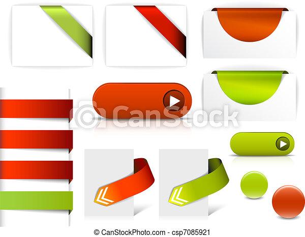 Vectores rojos y verdes para páginas web - csp7085921