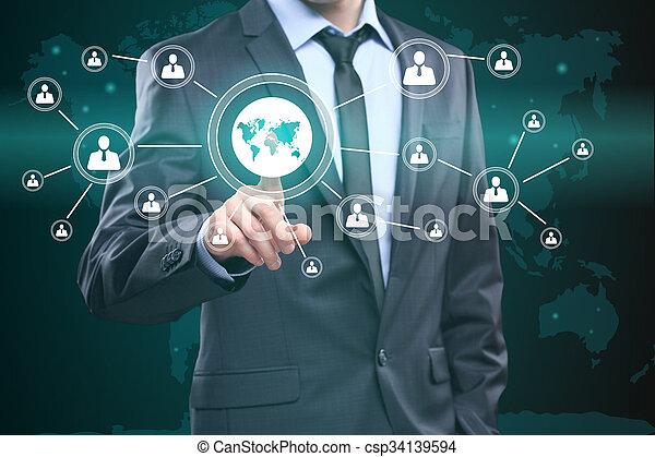 Un símbolo de conexión con el mapa. Tecnología, Internet y el concepto de red. - csp34139594