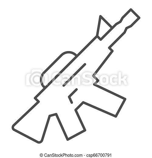 M16 ametralladora icono línea delgada. Ilustración de vector de arma automática aislada en blanco. Diseño de diseño de armamento, diseñado para web y aplicación. Eps 10. - csp66700791