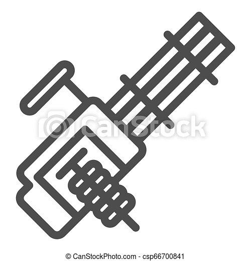 Múltiple línea de ametralladoras icono. Ilustración de vector de arma automática aislada en blanco. Diseño de diseño de armamento, diseñado para web y aplicación. Eps 10. - csp66700841