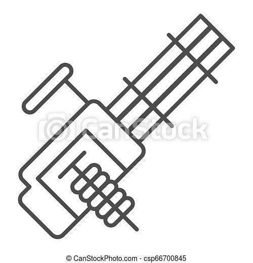 Múltiples ametralladoras, icono de línea delgada. Ilustración de vector de arma automática aislada en blanco. Diseño de diseño de armamento, diseñado para web y aplicación. Eps 10. - csp66700845
