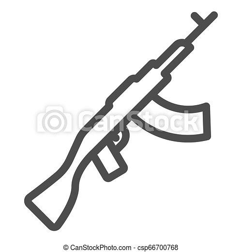 El icono de la ametralladora Kalashnikov. Ilustración vectorial Ak47 aislada en blanco. Diseño de diseño de armamento, diseñado para web y aplicación. Eps 10. - csp66700768