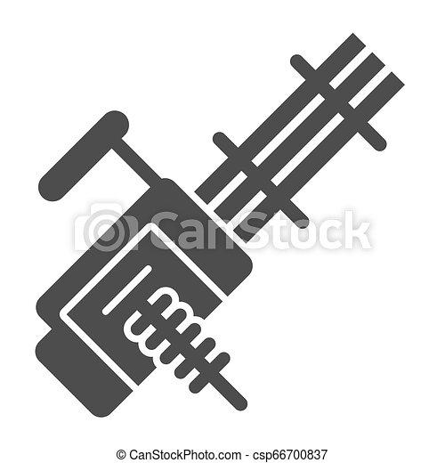 Múltiple ametralladora icono sólido. Ilustración de vector de arma automática aislada en blanco. Diseño de arma Glyph, diseñado para web y aplicación. Eps 10. - csp66700837