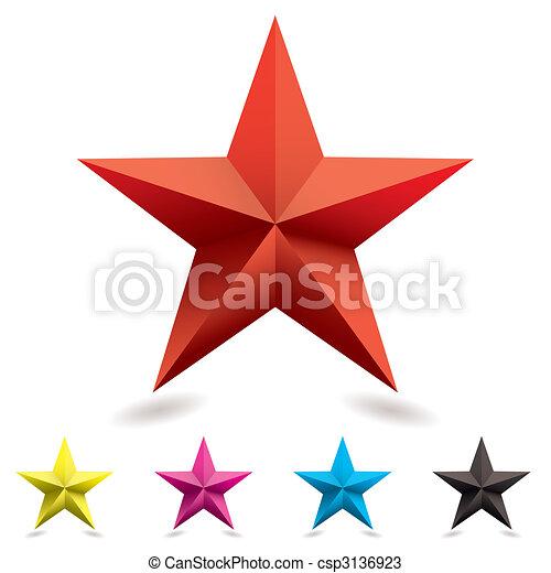 tela, forma, estrella, icono - csp3136923