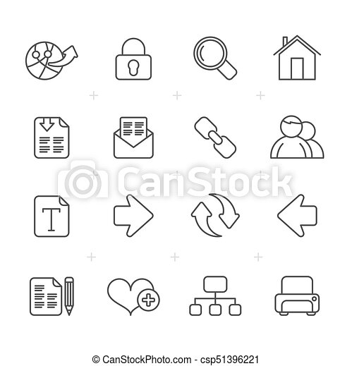 tela, línea, internet, navegación, iconos - csp51396221