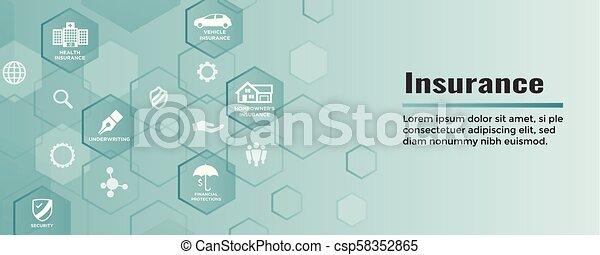 Estandarte web de seguros cubre propietarios, médicos, vida y seguro de vehículos - csp58352865