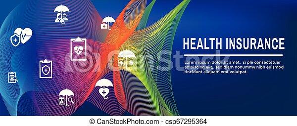Estandarte web de seguros cubre propietarios, médicos, vida y seguro de vehículos - csp67295364