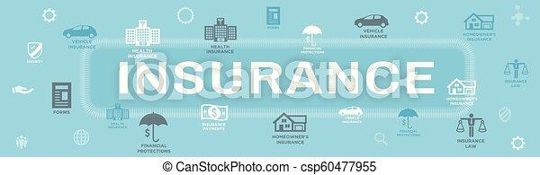 Estandarte web de seguros que cubre propietarios, médicos, vida y seguro de vehículos - csp60477955