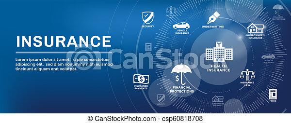 Estandarte web de seguros que cubre propietarios, médicos, vida y seguro de vehículos - csp60818708