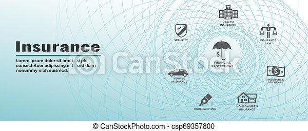Estandarte web de seguros cubre propietarios, médicos, vida y seguro de vehículos - csp69357800