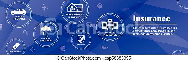 Estandarte web de seguros cubre propietarios, médicos, vida y seguro de vehículos - csp58685395