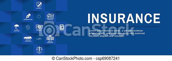 Estandarte web de seguros cubre propietarios, médicos, vida y seguro de vehículos - csp69087241