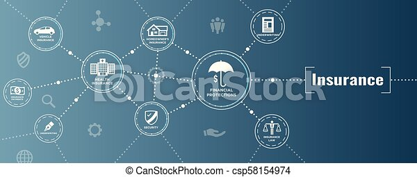 Estandarte web de seguros cubre propietarios, médicos, vida y seguro de vehículos - csp58154974