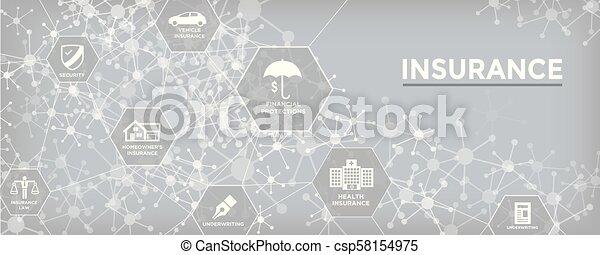 Estandarte web de seguros cubre propietarios, médicos, vida y seguro de vehículos - csp58154975