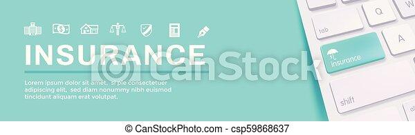 Estandarte web de seguros que cubre propietarios, médicos, vida y seguro de vehículos - csp59868637