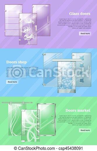 Las tiendas de puertas de vidrio y los mercados son coloridos - csp45438091