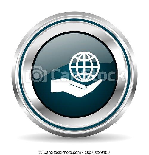 Icono vector de vectores de cuidado manual del planeta. El botón de la frontera cromada. Plata de botón metálico - csp70299480