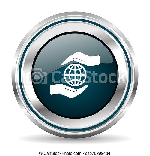 Icono vector de vectores de cuidado manual del planeta. El botón de la frontera cromada. Plata de botón metálico - csp70299484