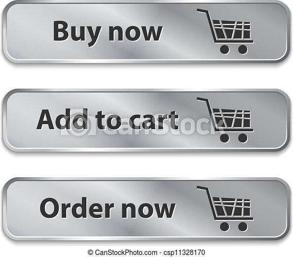 Los elementos metálicos de la web/botones para las compras en línea - csp11328170
