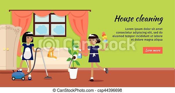 Tela plano casa vector dise o limpieza bandera casa - Imagenes de limpieza de casas ...