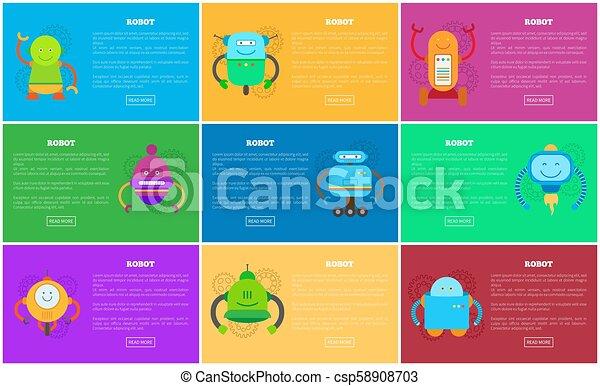 Páginas robóticas de colección de vectores de ilustración - csp58908703