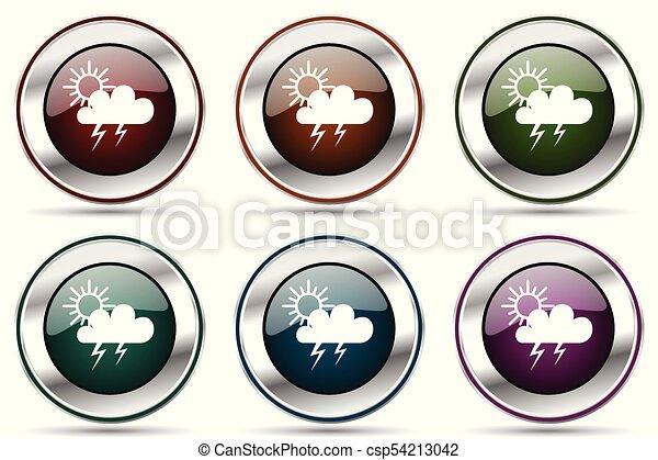 icono vector de tormenta listo. iconos de la frontera de cromo metálico de plata para diseño web y aplicaciones de teléfonos inteligentes - csp54213042