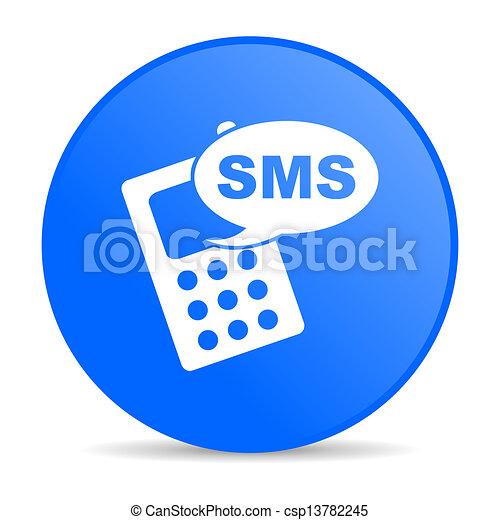 Sms, círculo azul, imagen brillante - csp13782245