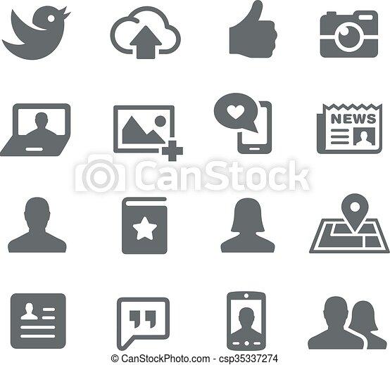 tela, social, iconos - csp35337274