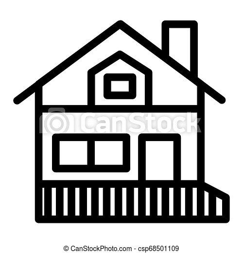 Tela Tejadode Dos Aguas 10 Contorno Pórtico Casa Estilo Ilustración Aislado Veranda App Vector Diseñado Icon Cabaña Línea Eps