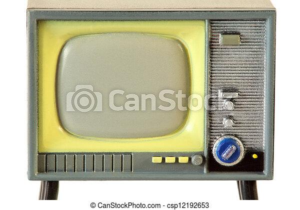 tela televisão, pequeno, isolado, retro, fundo, branca, plástico - csp12192653