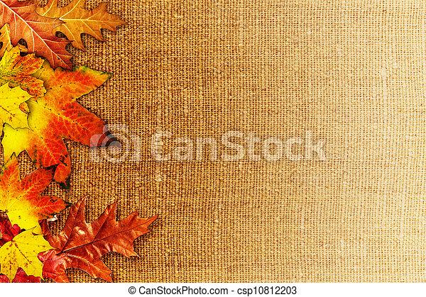 Foliage caído sobre la vieja tela hessiana, fondo abstracto de otoño - csp10812203