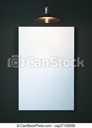 tela, vuoto, interpretazione, dark., bianco, 3d - csp37102099