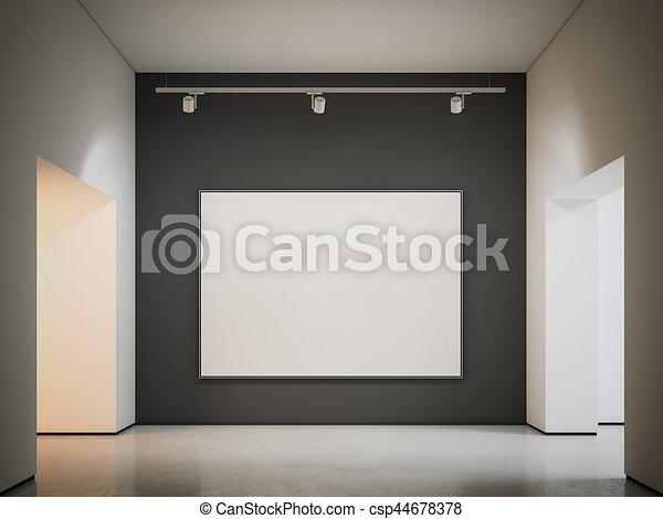 tela, wall., interpretazione, nero, bianco, 3d - csp44678378