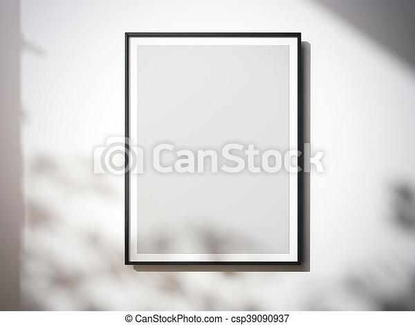 tela, wall., interpretazione, vuoto, bianco, 3d - csp39090937