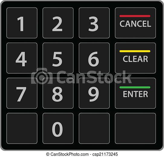 Atm teclado aislado en blanco. Versión vectorial. - csp21173245