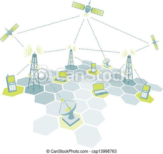 telecom, ábra, dolgozó - csp13998763